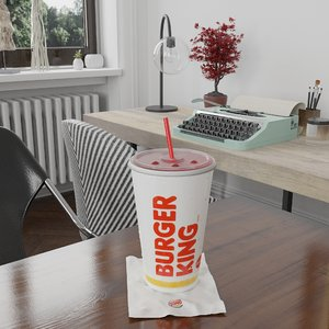 3D photorealistic pbr burger king