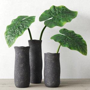 3D model crosshatch vases taro leaves