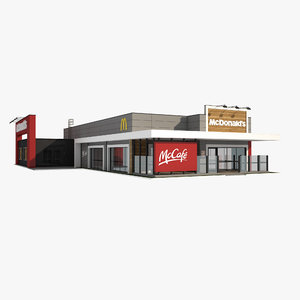 3D mcdonald s mccafe restaurant model