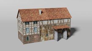 medieval farm house stable model