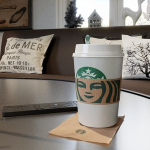 3D photorealistic pbr starbucks cup