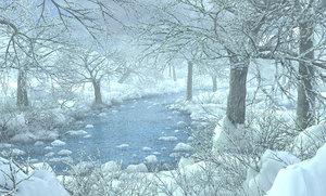 3D model snow landscape river