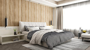 3D model bedroom modern wood wall