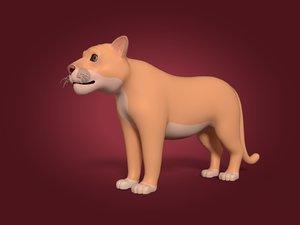 3D model cartoon cougar