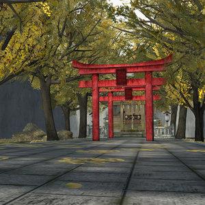 3D japanese small shrine temple