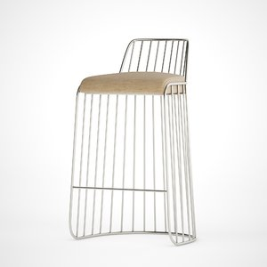 3D model bride s veil bar stool