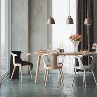 Realistic Scandinavian Interior Dining Table Scene Corona V-ray 2