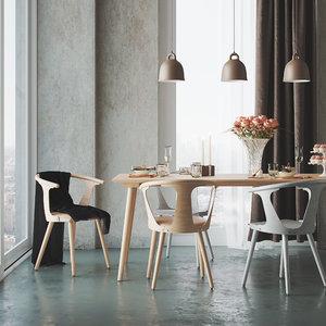 interior dining table scandinavian model