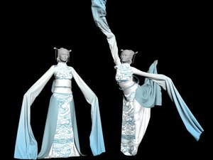 traditional dress chinese dancer 3D model