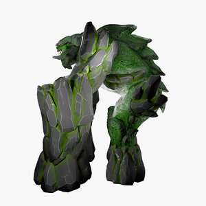 earth elemental creature rigged character 3D model