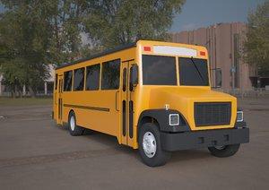bluebird school bus yellow 3D