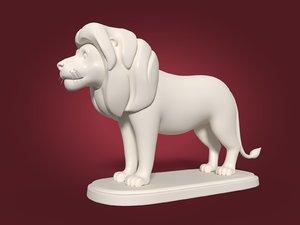 cartoon lion statue 3D