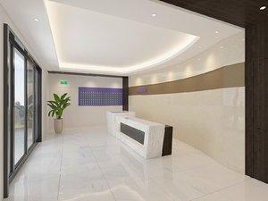 3D interior scene lobby reception desk