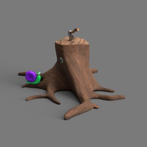 3D axe tree stump snail model
