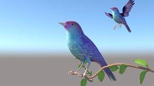 birds tree branch 3D model