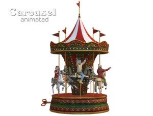carousel vintage toy 3D