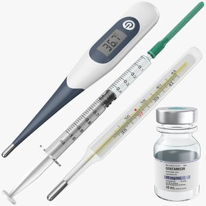 3D real syringe vial thermometers model