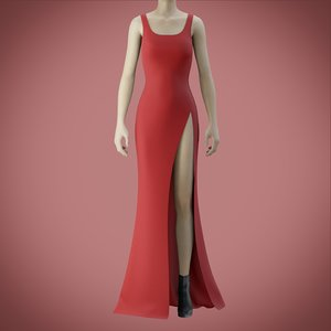 red gown slit 3D model