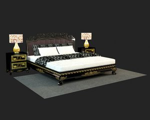 double bed realistic 3D model