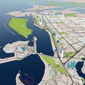 3D abu dhabi city landmark