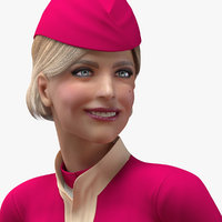Airline Hostess in Maroon Uniform Rigged for Cinema 4D