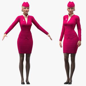 airline hostess maroon uniform 3D model