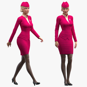 3D airline hostess maroon uniform model