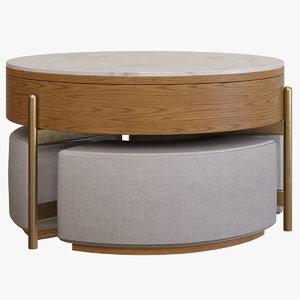 3D coffee table ottomans