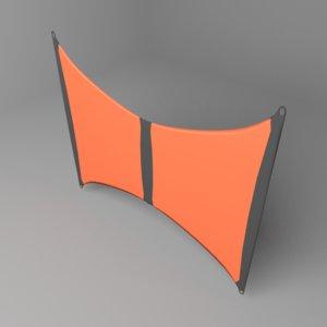 3D model bowed kite