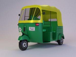 3D indian auto rickshaw cartoon