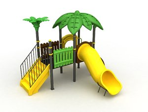 3D model metal playground slide