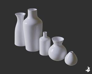 3D set ceramic vases