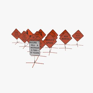 3D road construction signs