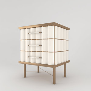 brass bedside table 3D
