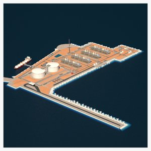3D lng terminal island ship