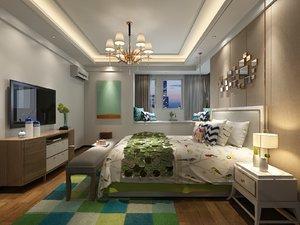 3D interior scene bedroom window model
