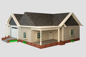 american house exterior realistic 3D