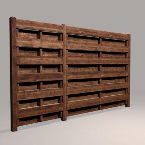 wood fence 06 3D