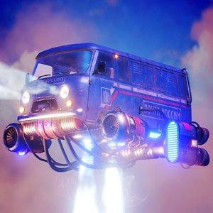3D model soviet flying car