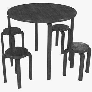 minimalist black mahogany artek 3D model