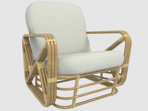 3D model mid-century modern rattan lounge chair