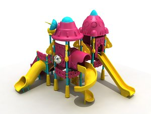 3D metal playground space concept model