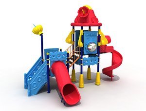 3D metal playground space spaceship model