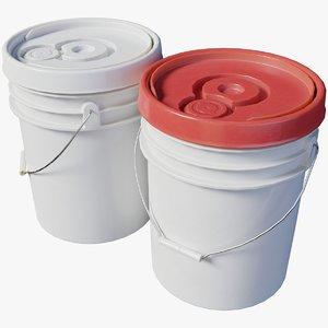 plastic bucket pails 3D