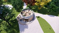 glamping pod with hot tube and fireplace