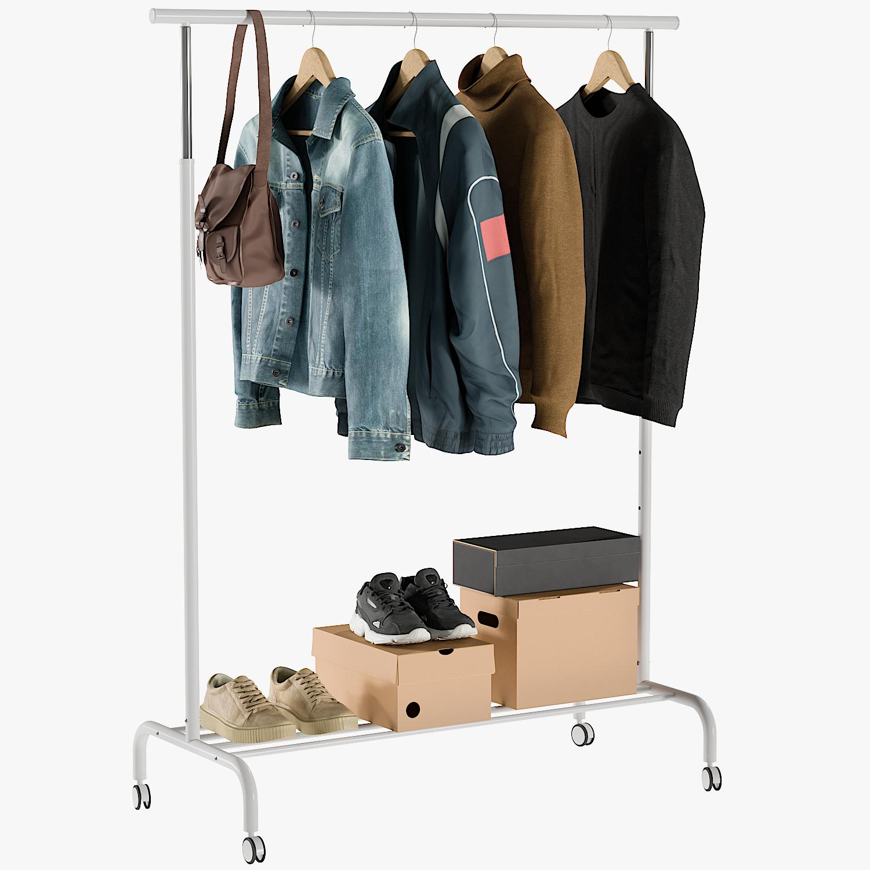3D model realistic rail coat clothing