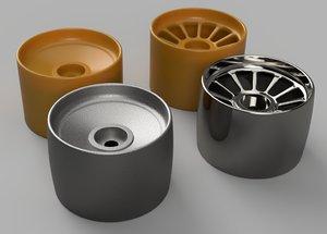 3D model set wheels drift hexagon