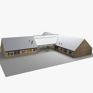 3D modern european building 02 model