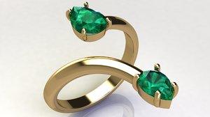 gold ring pear cut 3D model