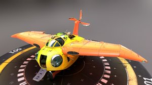 3D anime falco flying boat